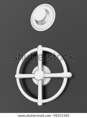 metal safe.element of the combination lock - stock photo