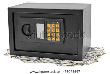 Metal safe is on hundred dollar bill. Isolated on white. - stock photo