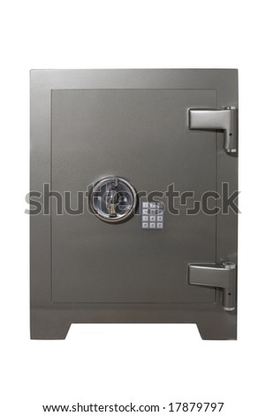 Metal safe isolated on white - stock photo