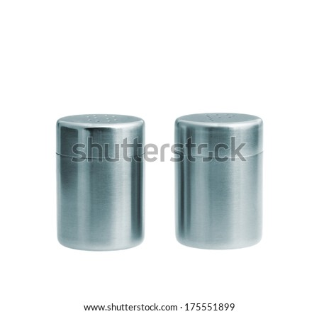Metal salt and pepper shakers isolated on white background, studio shot, two objects - stock photo