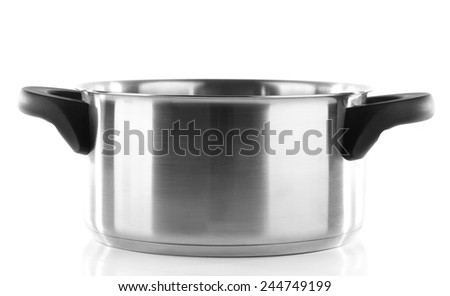 Metal saucepan isolated on white background - stock photo