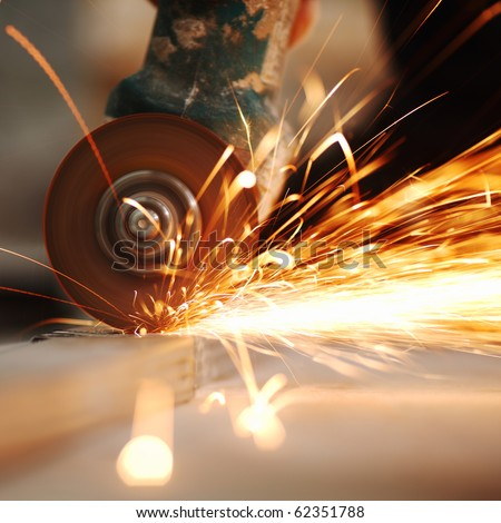 metal sawing close up - stock photo