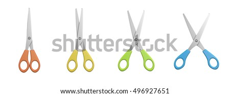 Metal Scissors Set with Colored Hilt and Different Aperture,  on White Background 3D Illustration