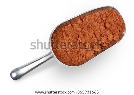 metal scoop with cocoa powder isolated on white background - stock photo