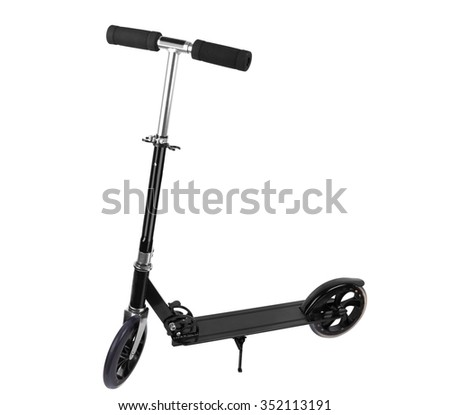 metal scooter isolated on a white background - stock photo