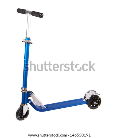 metal scooter isolated on white - stock photo