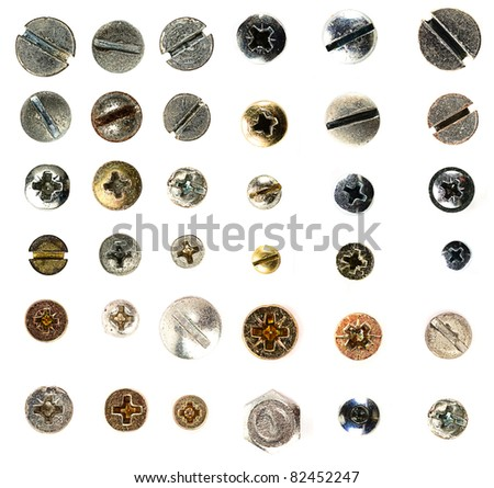 metal screws collection - stock photo