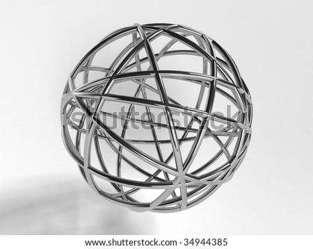 Metal scribble ball (3d rendering)