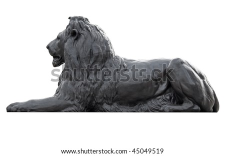 Metal sculpture of a lion in Trafalgar Square isolated on white with clipping path - stock photo
