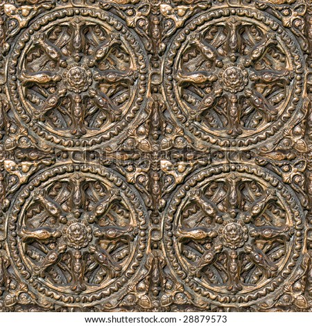 Metal seamless decorative pattern. (See more seamless backgrounds in my portfolio). - stock photo