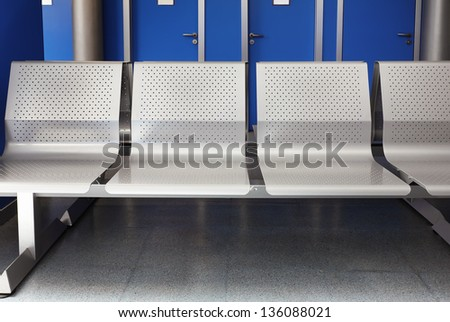 metal seats in the hall hospital consultations - stock photo