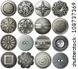 Metal sewing buttons collection, isolated - stock photo