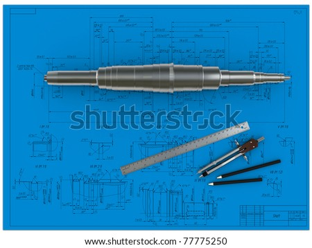 metal shaft, compasses, rulers and pencils at an engineering drawing - stock photo