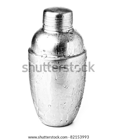 metal shaker isolated on a white background - stock photo