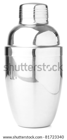 metal shaker on white background - stock photo
