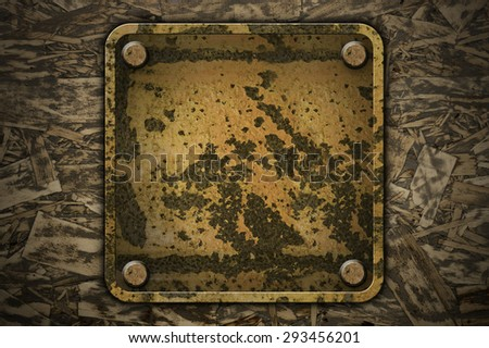 Metal sheet rust plate on plywood crate background texture - stock photo