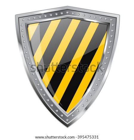 Metal Shield. emblem under construction. Illustration isolated on white background. Raster version