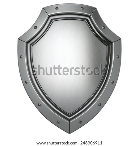 metal shield. isolated on white background. - stock photo