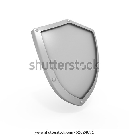 Metal shield isolated on white background