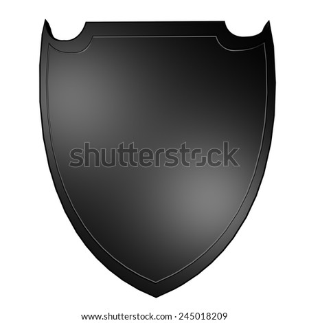 Metal shield isolated over white, 3d render - stock photo