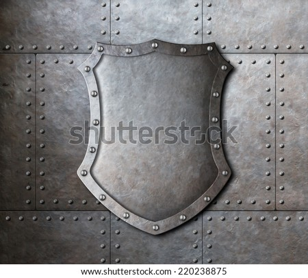 metal shield over armor plates background - stock photo