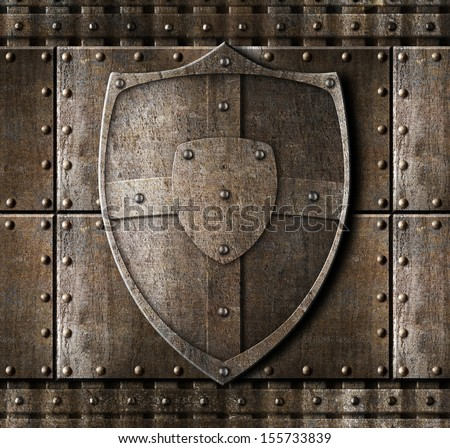 metal shield over armour background with rivets - stock photo