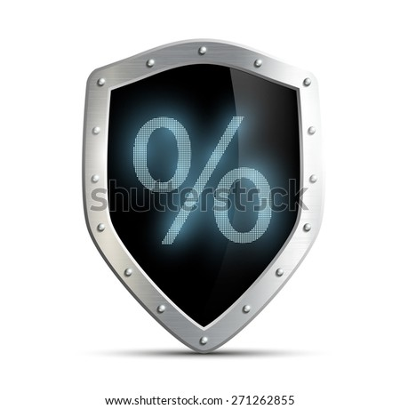 Metal shield with a percent sign isolated on white background - stock photo