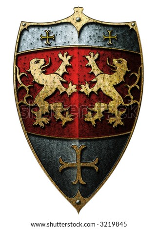 Metal shield with facing lions and crosses - stock photo