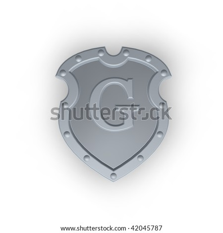 metal shield with letter G  on white background - 3d illustration