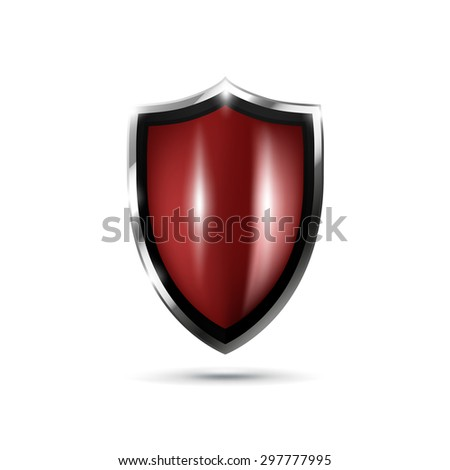 Metal shiny shield. Realistic illustration. Logo design template - stock photo