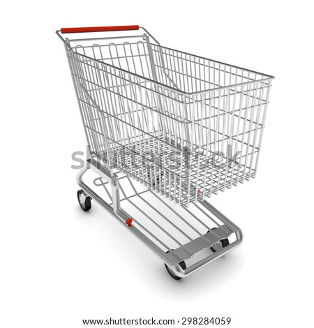 Metal shopping cart for purchase with red handle on isolated white background