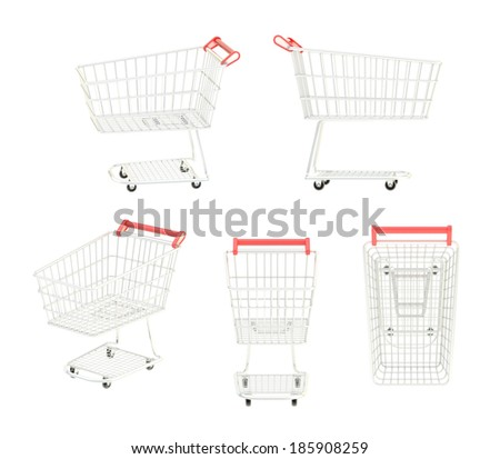 Metal shopping cart isolated over the white background, set of five foreshortenings - stock photo