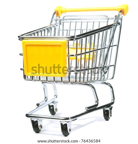 metal shopping trolley - stock photo