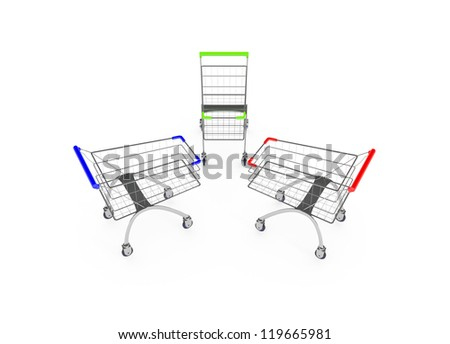 Metal shopping trolleys isolated on white - stock photo