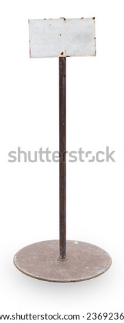 Metal sign board isolated on white background - stock photo