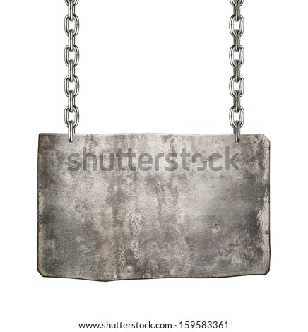 Metal sign hanging on a chain, isolated. - stock photo
