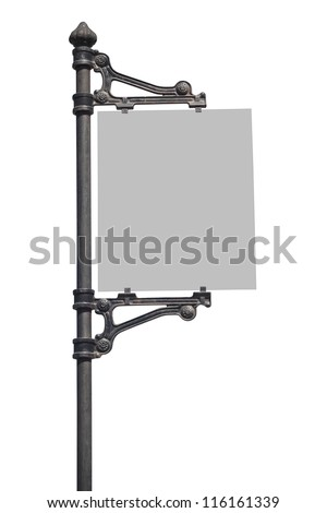 Metal Sign on street pole . Isolated on white, with clipping path. - stock photo