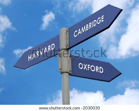 Metal signpost indicating directions of three world famous universities - Harvard / Cambridge / Oxford - stock photo