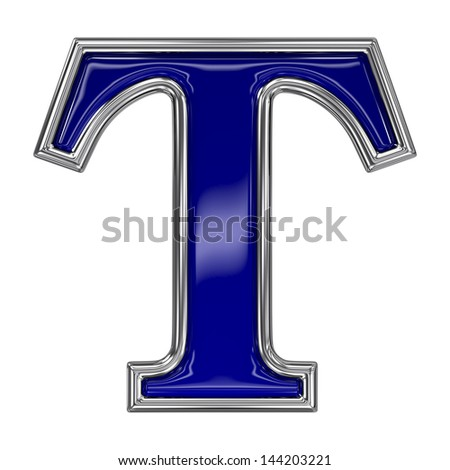 Metal silver and blue alphabet letter symbol - T - stock photo