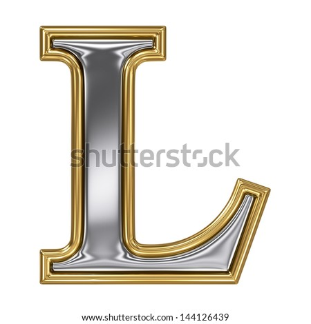 Metal silver and gold alphabet letter symbol - L - stock photo