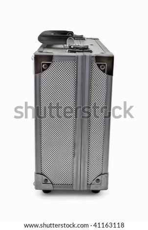 Metal Silver Briefcase over white , Clipping path included.