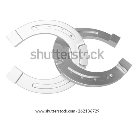 Metal, silver horseshoe isolated on white background. 3d illustration high resolution - stock photo