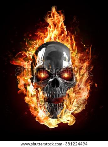 metal skull flames stock illustration 381224494 shutterstock
