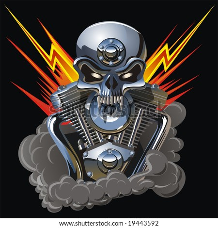 Metal skull with engine. More skulls in vector format see in my portfolio - stock photo