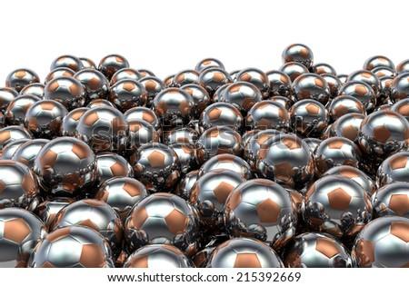 Metal soccer balls pile - stock photo