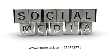 Metal Social Media Text (isolated on white background) - stock photo