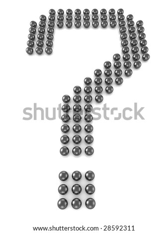 Metal sphere formed a question mark 3d illustration - stock photo