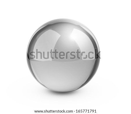 Metal sphere render on white isolated with clipping path - stock photo