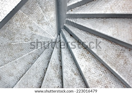 Metal Spiral Staircase. Background and Texture for text or image - stock photo