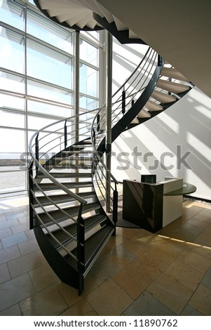 metal spiral staircase in modern building